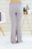 Hem and Thread Fleece Sweatpants in Light Grey Back View