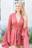 BLVD Salmon Bell Sleeve V-Neck Romper with Tie Waist (Front Closeup)