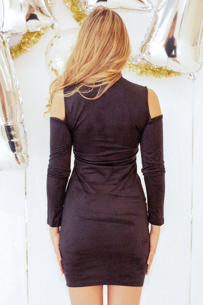 New Me Velour Dress - Black