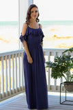 Stolen Kiss Ruffle Maxi Dress - Navy