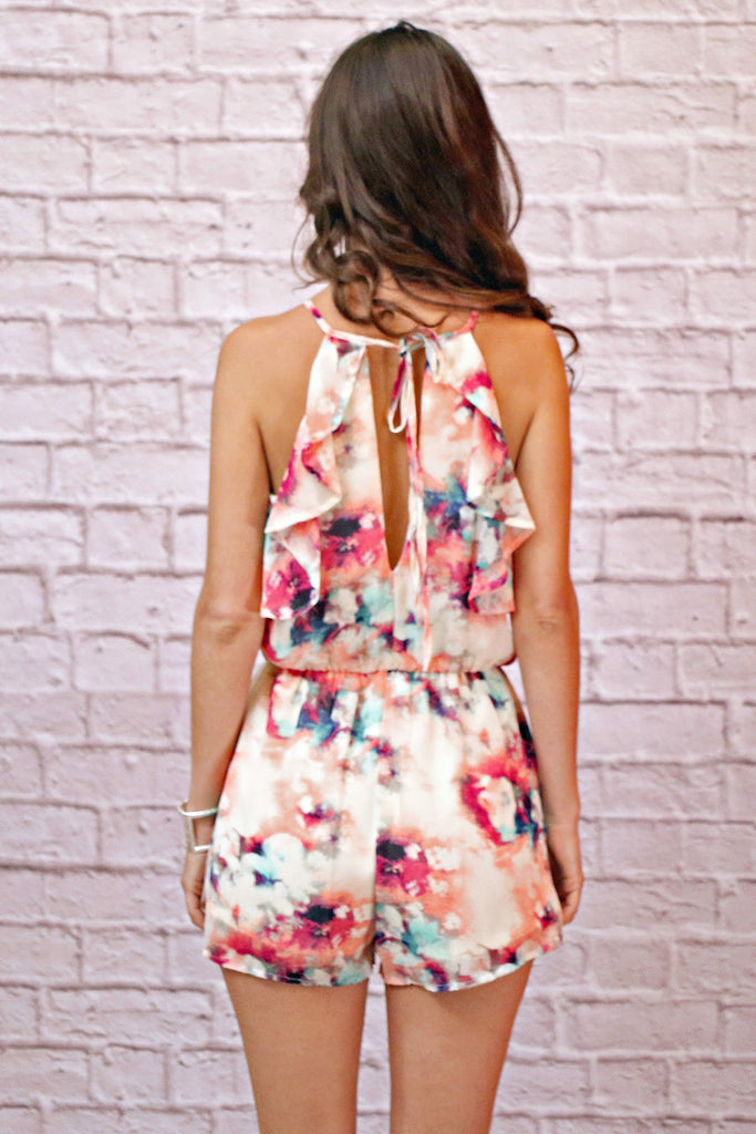 Watercolor Print Sleeveless Romper Back Cutout with Ruffle Detail and Tie Closure