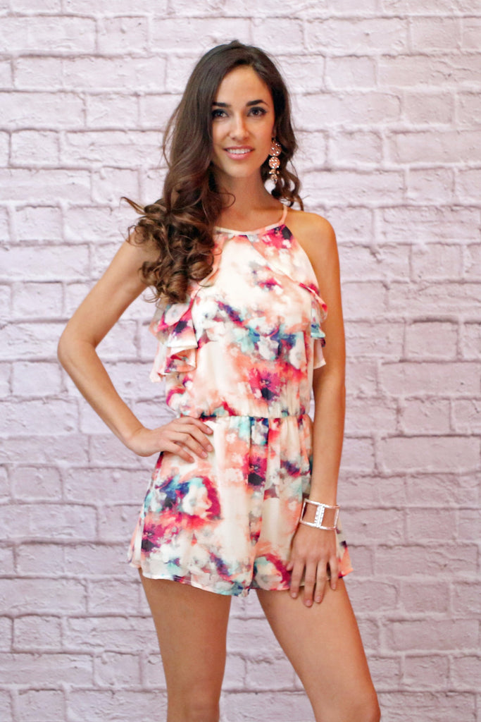 Watercolor Print Sleeveless Romper with Ruffle Detail- White with Multicolor