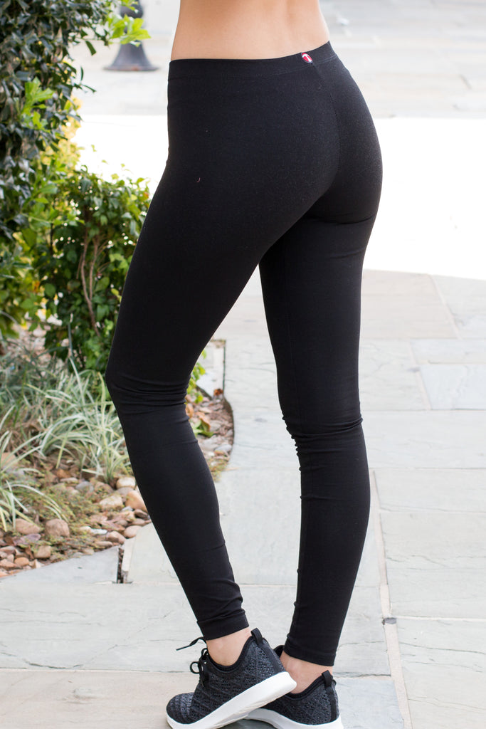 Back view of model wearing women's T Party Black Basic Low-Rise Leggings