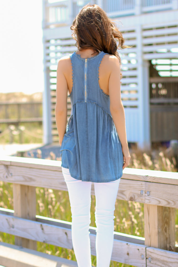Beach Babe Tank Top- Blue