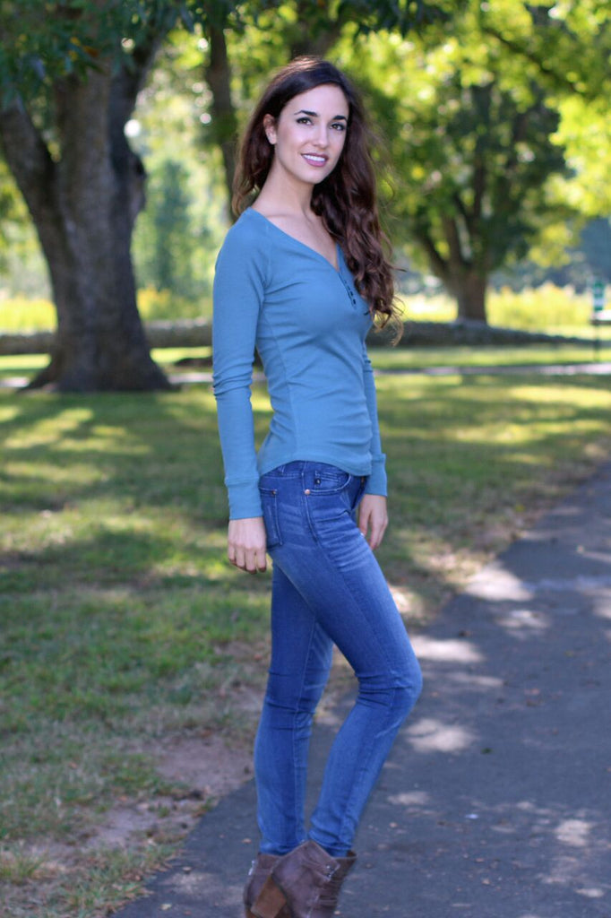 Better Than Basic Long Sleeve Henley Top- Teal