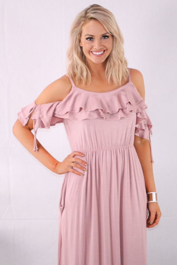 Pink Ruffle Cold Shoulder Maxi with Cinched Waist
