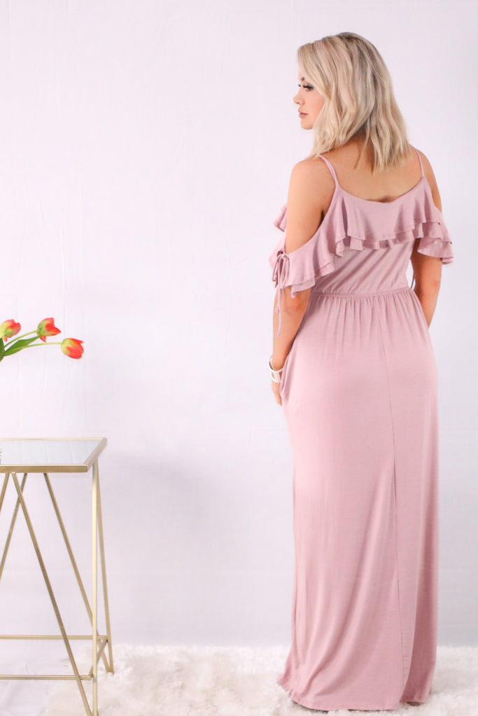 Pink Ruffle Cold Shoulder Maxi Back View