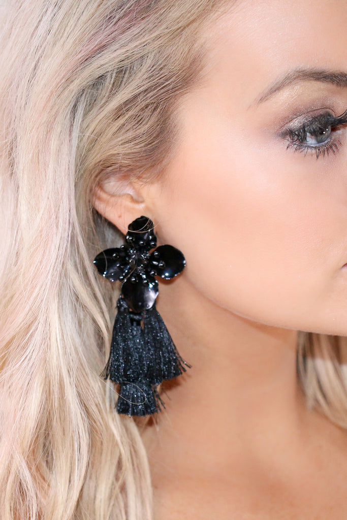Flower Child Black Floral Tassel Earrings