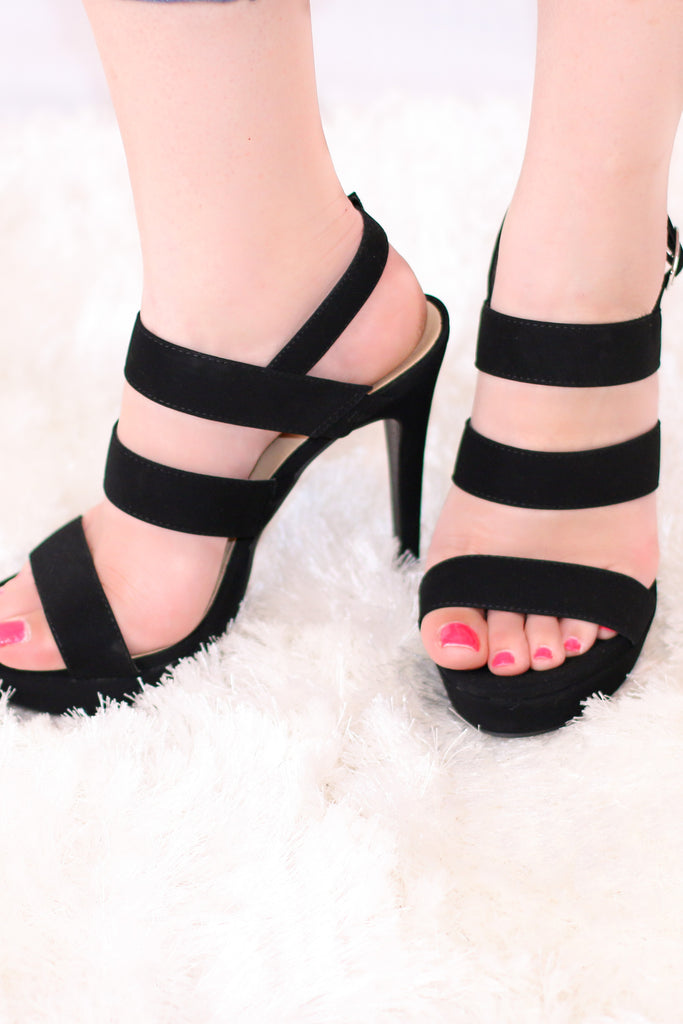 Black Ankle Strap Heel with 3 Straps