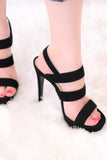 Black Ankle Strap Heel with 3 Straps Side View