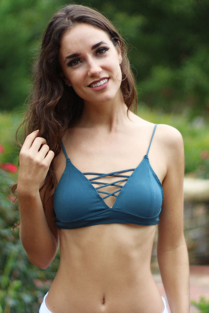 green lace-up lattice front bralette