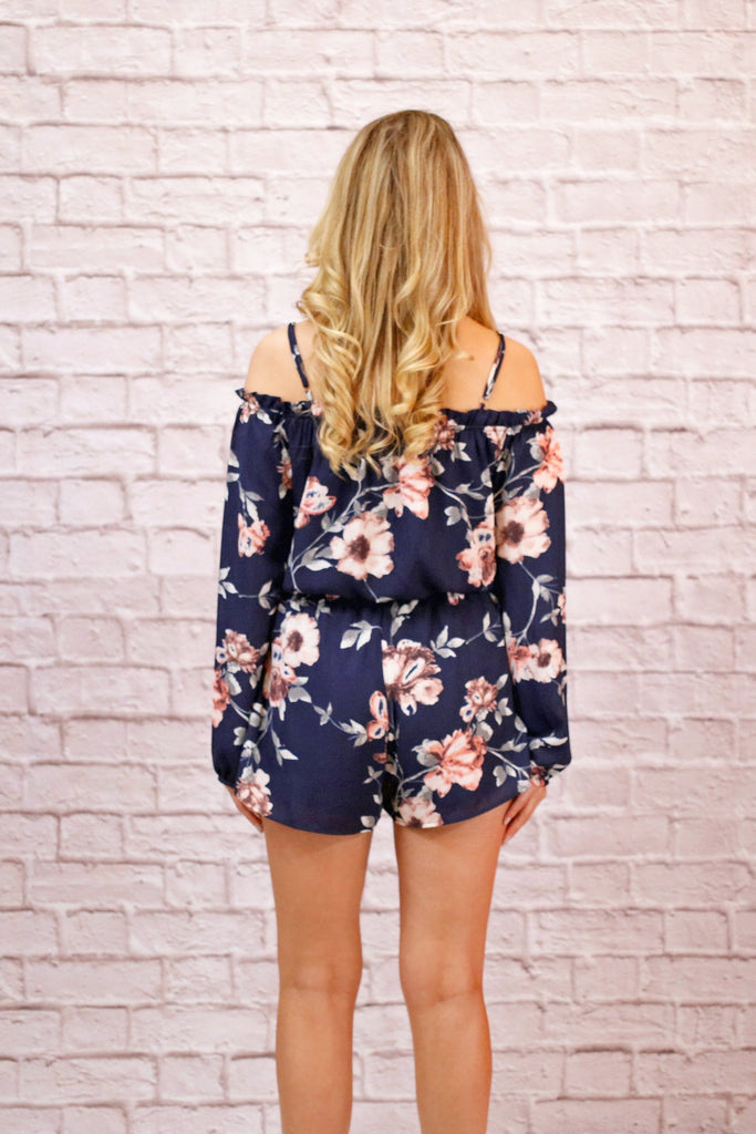 Navy Blue Long Sleeve Off the Shoulder Floral Romper Back View
