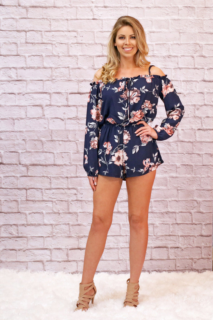 Navy Blue Long Sleeve Off the Shoulder Floral Romper With Nude Heels