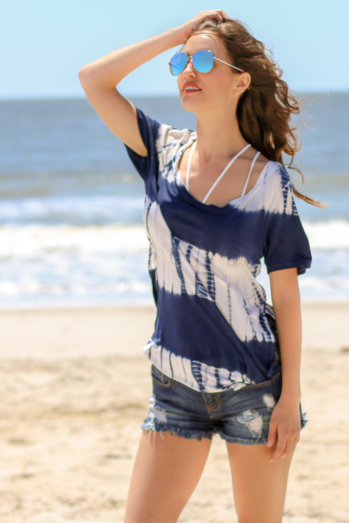 Blue and White Striped Tie-Dye Short-Sleeve Shirt