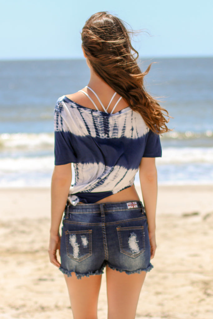 Blue and White Striped Tie-Dye Short Sleeve Shirt Back