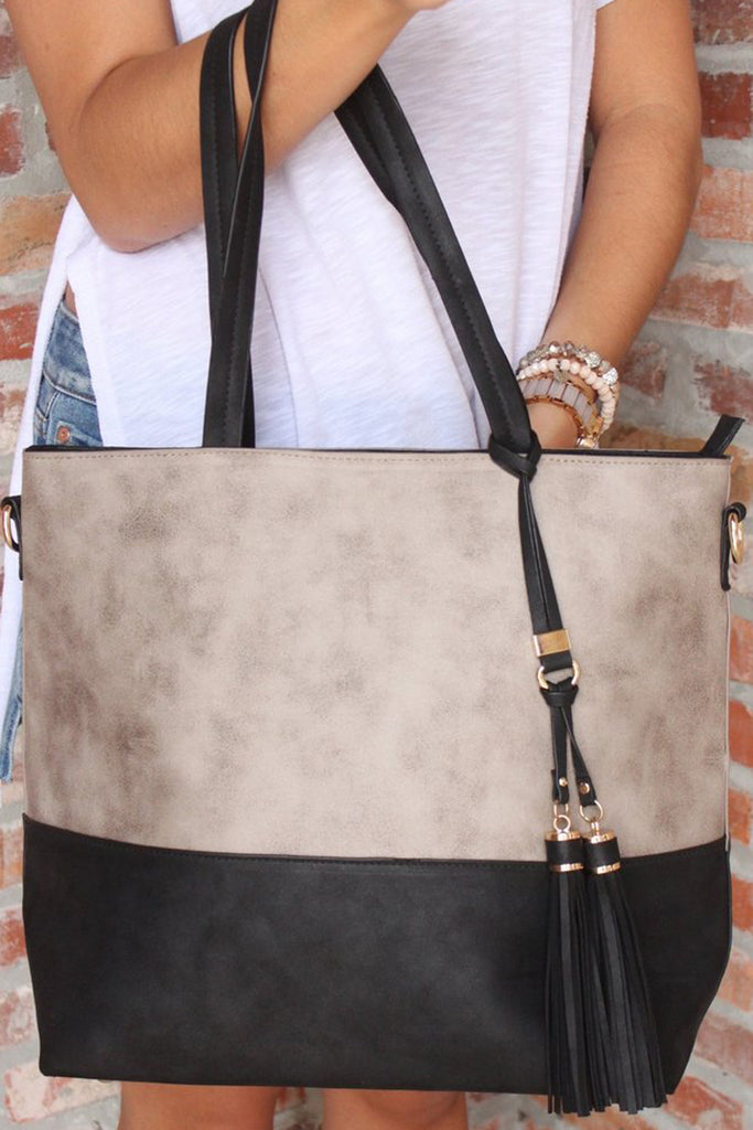 Gray and Black Suede Tote Purse with Double Shoulder Straps and Tassel Charm