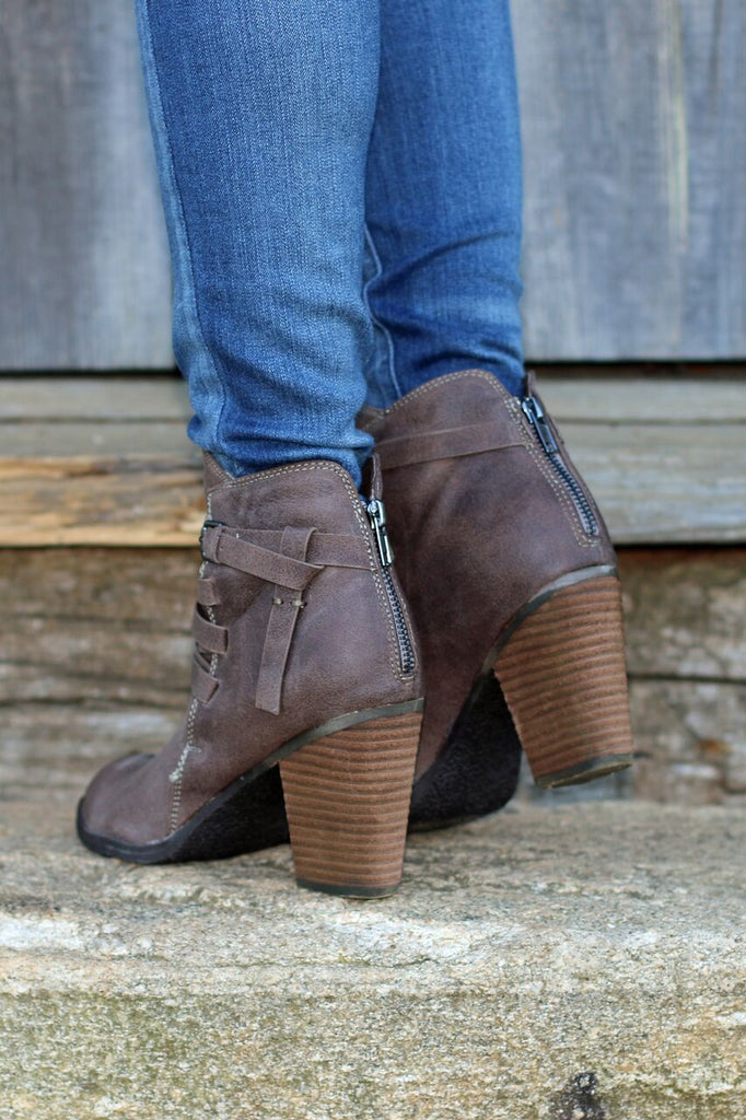 Terra Cross-Strap Ankle Booties - Taupe