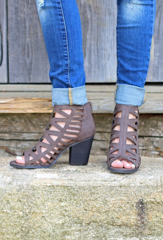Caged Strappy Peep Toe Booties - Brown