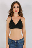Black Double Strap X-Back Bralette with Side Lattice Detail and Keyhole Cutout Front View