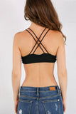 Black Double Strap X-Back Bralette with Side Lattice Detail and Keyhole Cutout Back View