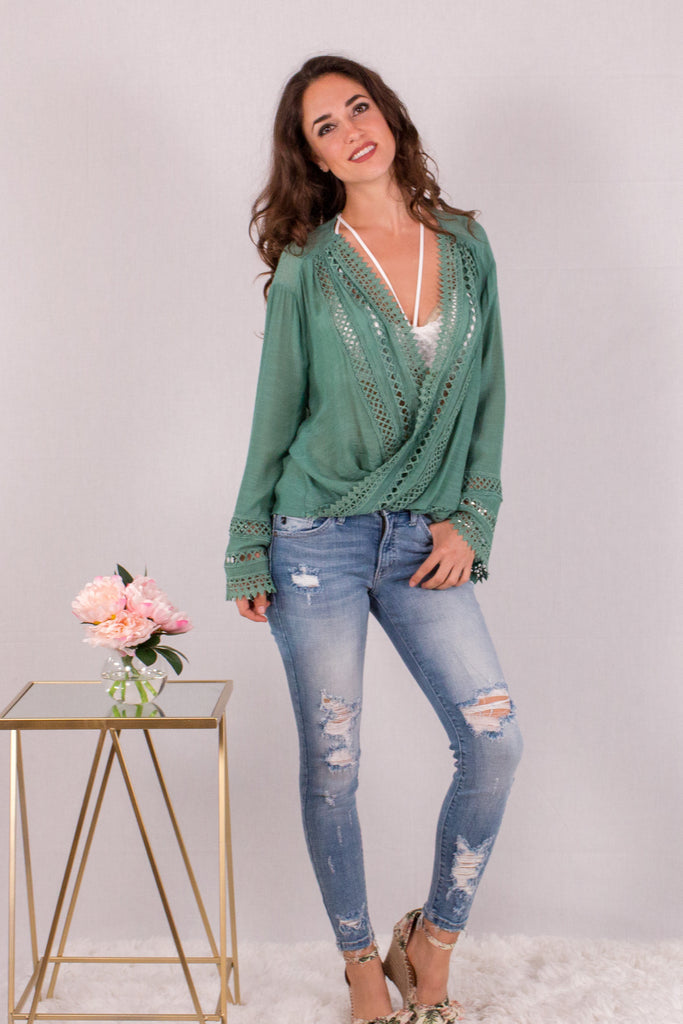 Jade Green Surplice Crochet Trim Top with Flare Long Sleeves Front View