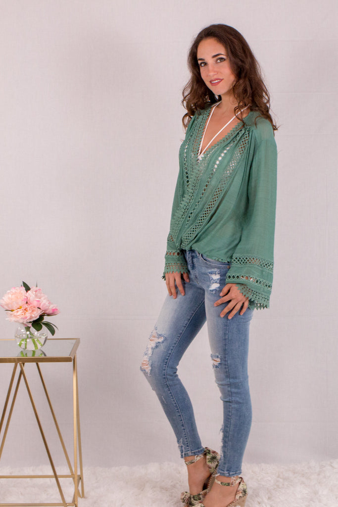 Jade Green Surplice Crochet Trim Top with Flare Long Sleeves Side View