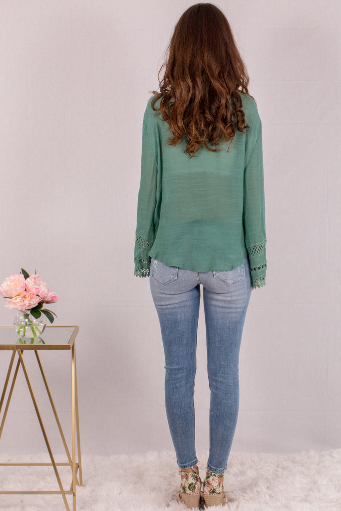Jade Green Surplice Crochet Trim Top with Flare Long Sleeves Back View