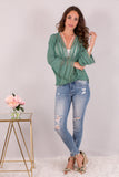 Jade Green Surplice Crochet Trim Top with Flare Long Sleeves Front View 2