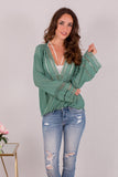 Jade Green Surplice Crochet Trim Top with Flare Long Sleeves Close Up