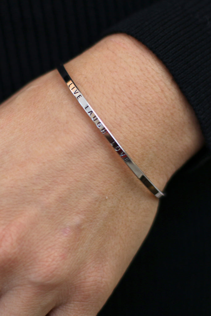 women's jewelry silver live laugh love inspiration bangle