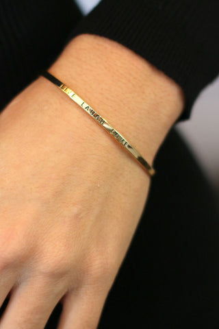 Square Link Stretch Bracelet - Gold