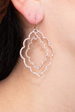 Caroline Hill Pave Stone Double Layer Drop Earrings- Rose Gold 2