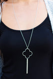 Caroline Hill Clover Pendant Necklace in Silver Close Up