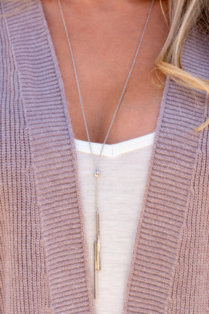 Caroline Hill Double Bar Drop Adjustable Y Necklace- Silver (White Shirt Closeup)
