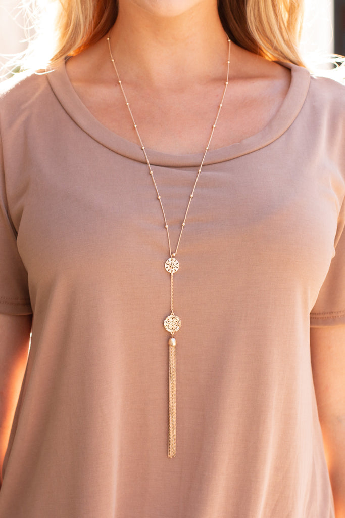 Gold Double Drop Filigree Necklace with Tassel