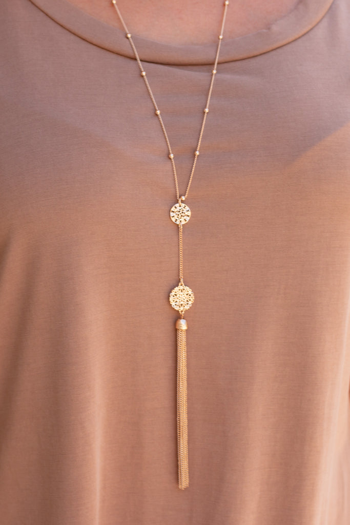 Gold Double Drop Filigree Necklace with Tassel Close Up