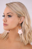 Rose Gold Crescent Tassel Earrings