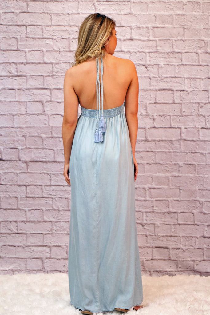 Powder Blue Chambray Maxi Dress with Halter Tassel Tie At Neck
