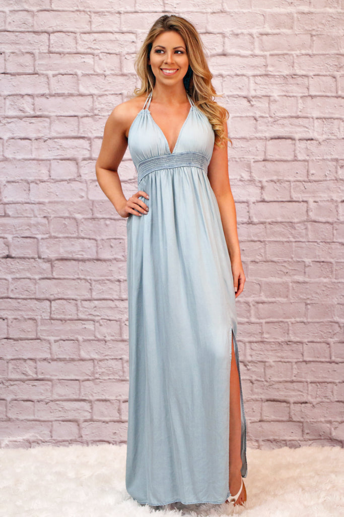 Powder Blue Chambray Maxi Dress with Side Slit and Banded Empire Waist