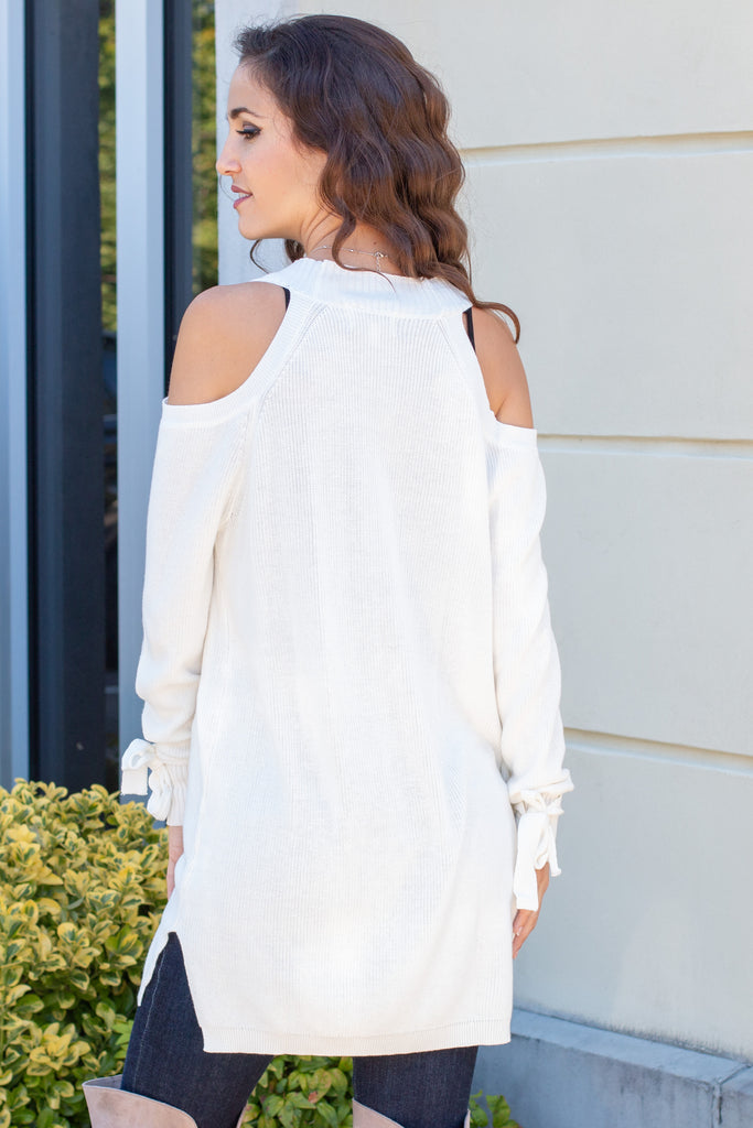 Cloudchaser Cold-Shoulder Sweater Cardigan- Off White