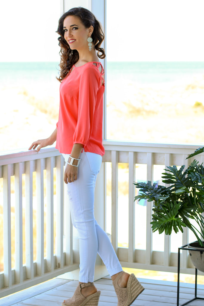 Walking On Sunshine Blouse- Coral
