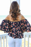 Navy with Coral Floral Print Off the Shoulder 3/4 Sleeve Top Back Close Up