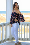Navy with Floral Print Off the Shoulder 3/4 Sleeve Top  and White Skinny Jeans