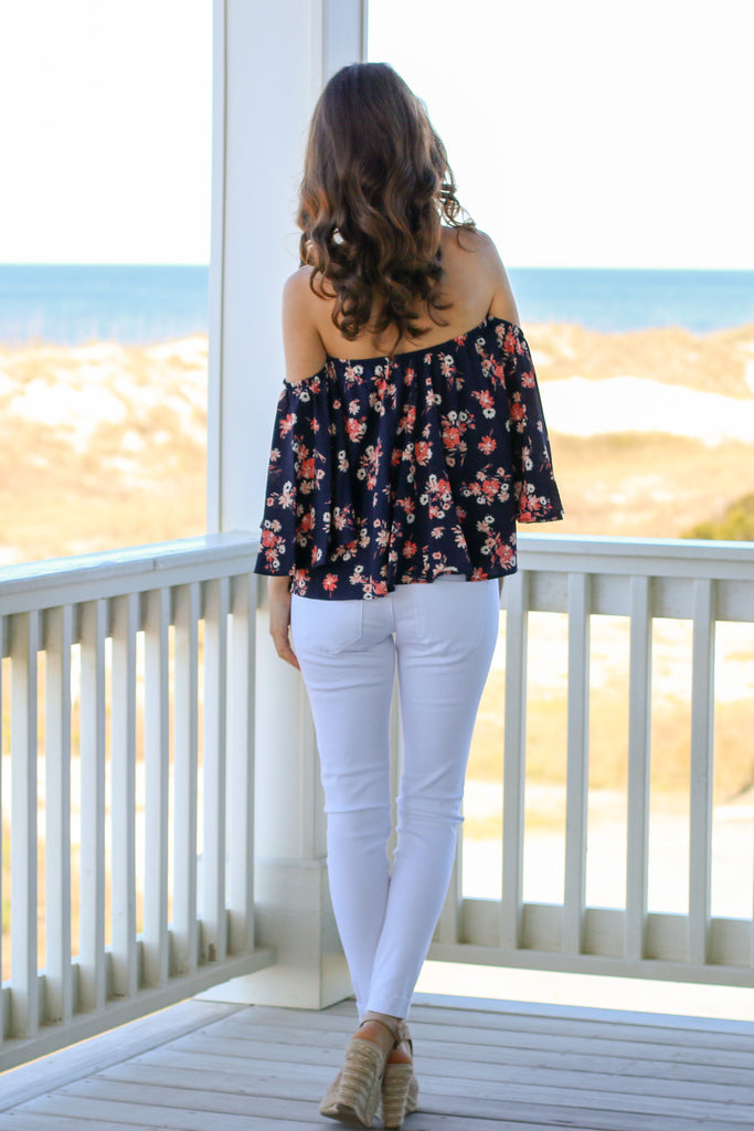Navy with Floral Print Off the Shoulder 3/4 Sleeve Top and White Skinny Jeans Back View