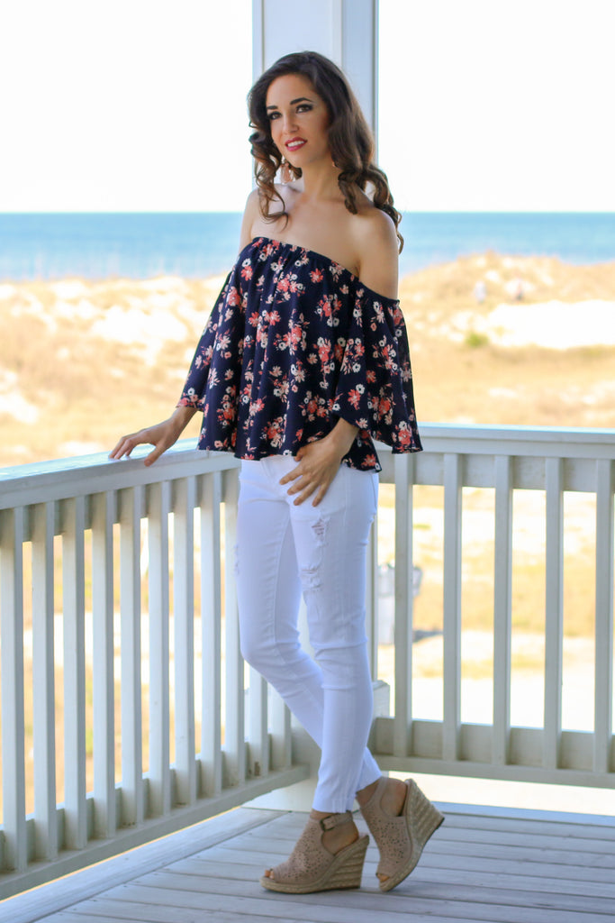 Navy with Floral Print Off the Shoulder 3/4 Sleeve Top and White Skinny Jeans Front 2