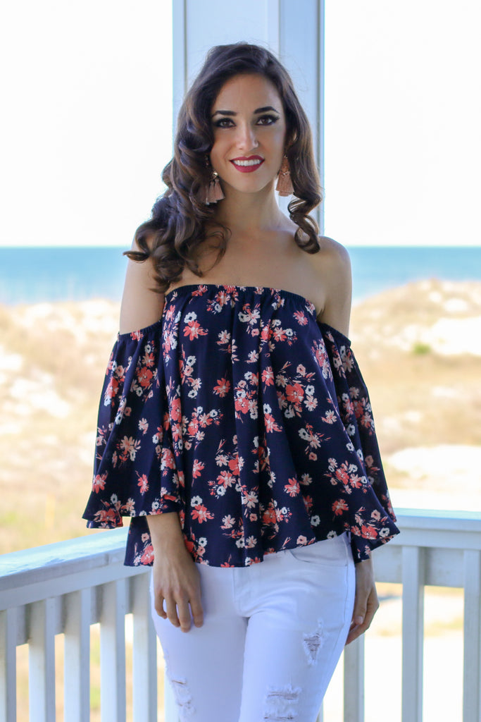 Navy with Coral Floral Print Off the Shoulder 3/4 Sleeve Top Front Close UP