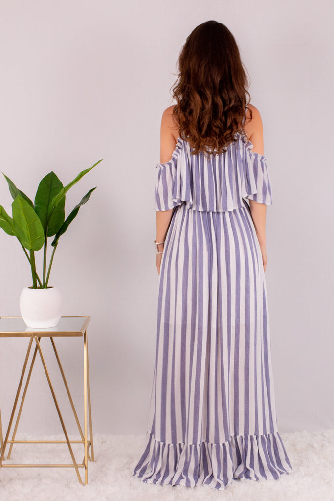 Beyond the Clouds Ruffle Bottom Maxi Dress