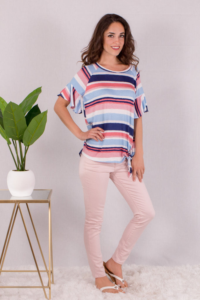 Watercolor Essence Striped Top