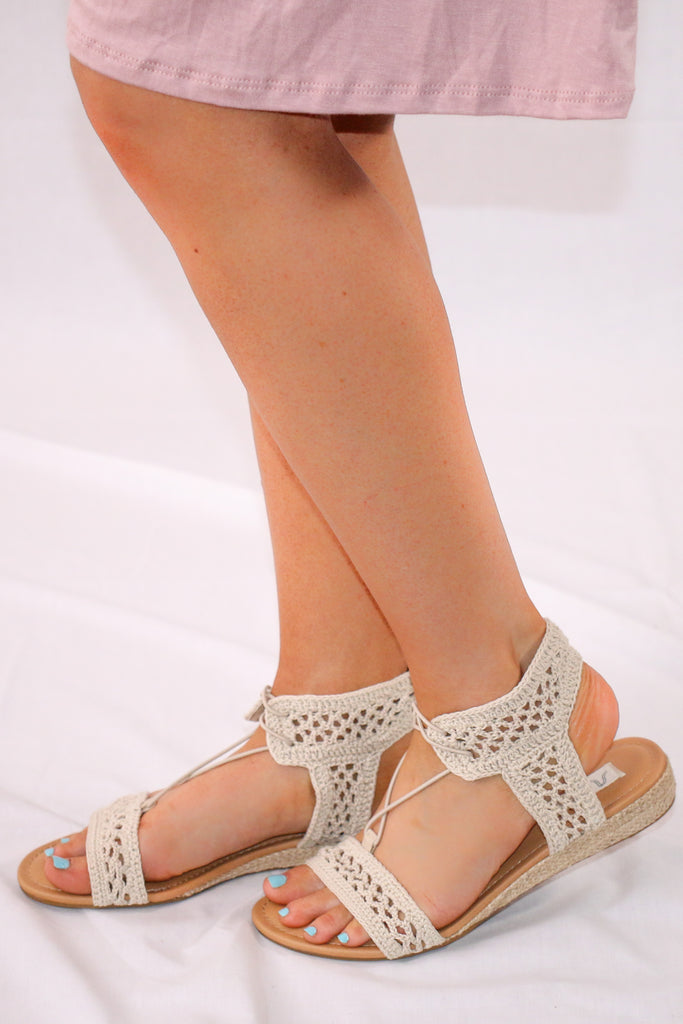 Crochet Sandal with Mini Wedge Heel and Lace Tie Side View