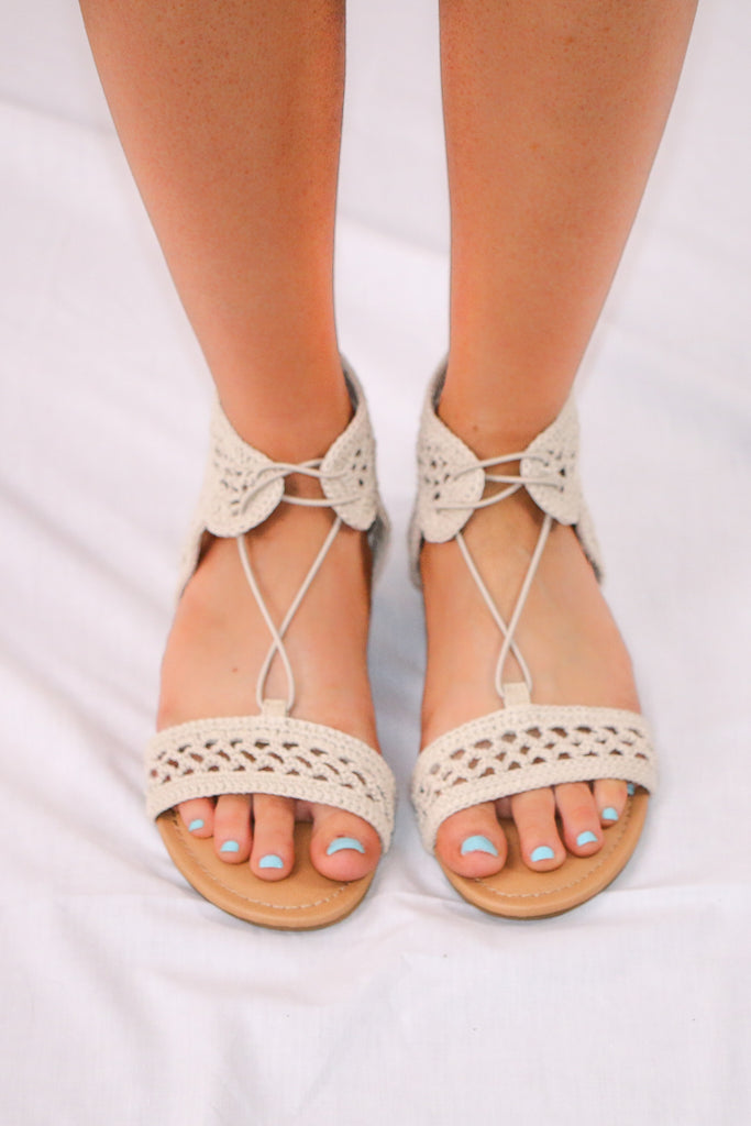 Crochet Sandal with Lace Tie Front View